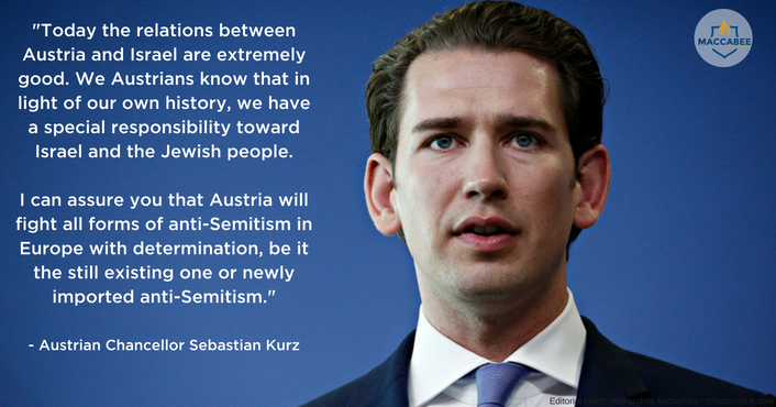 In Israel, Austrian chancellor vows to fight 'all forms of anti-Semitism'