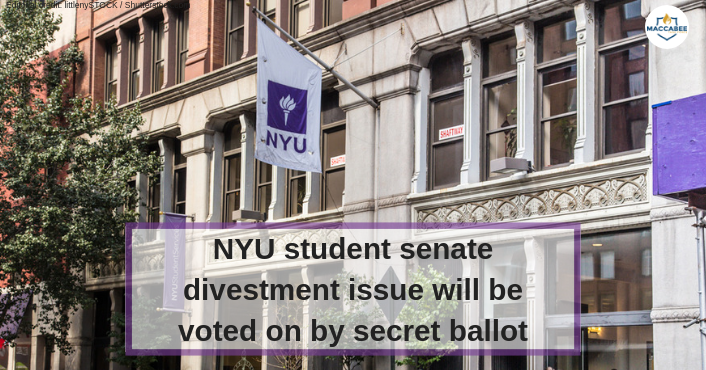 NYU student senate divestment issue will be voted on by secret ballot