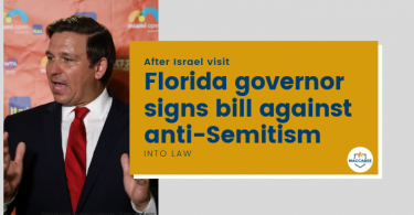 Florida governor signs bill against anti-Semitism