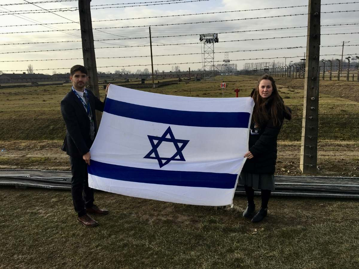 Maccabee of the Month Kayla with flag
