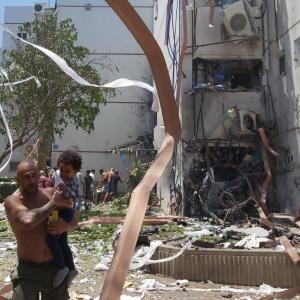 Home destroyed in Ashdod Israel