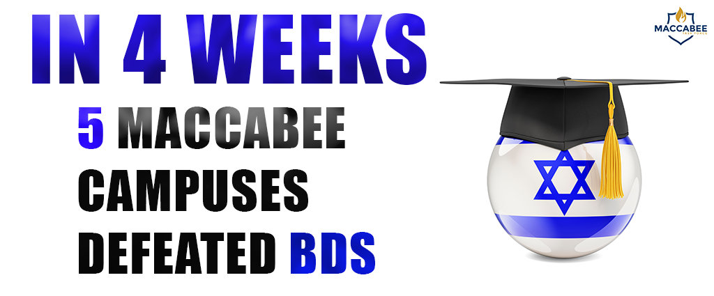 In 4 Weeks 5 Maccabee Campuses Defeated BDS
